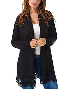 Myobe Women's Elegant Black Lacy Splicing Sweater Cardigan Long Sleeve Open Front Cardigan Plus Size Cover Up (Black, XXL)