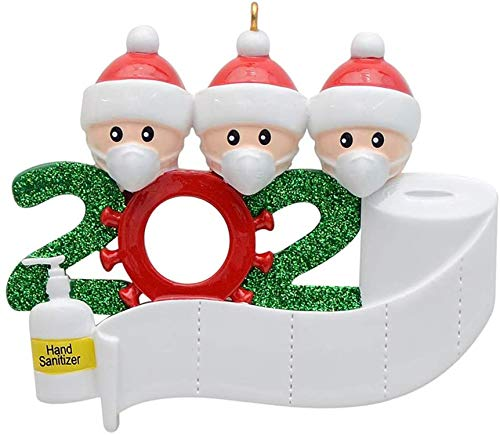 HAMACTIV Christmas Ornament Kit, 2020 Quarantine Survivor Family Novelty Christmas Decorating Set DIY Creative Gift Souvenir(Family of 3)