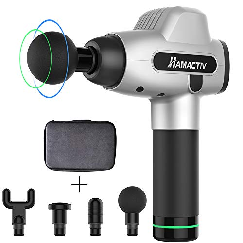HAMACTIV Muscle Massage Gun for Athletes, Upgraded Percussion Massager Deep Tissue Handheld Full Body Muscle Massager for Pain Reflief with 20 Speed & 4 Attachments (Silver)