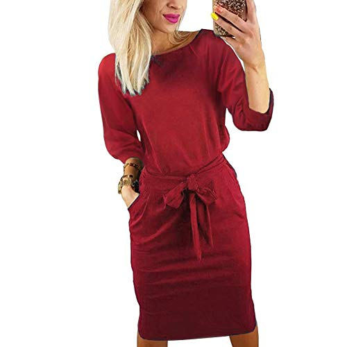 Kesujin Casual Dresses for Women Long Sleeve Wear to Work Business Office Party Sheath Belted Dress for Women Medium