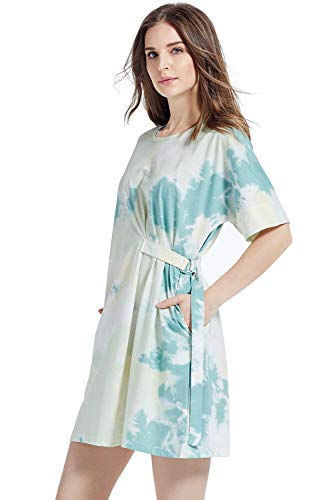 Kesujin Women's Summer Loose Fit Short Sleeve Tie Dye T-Shirt Dresses for Women Casual, Crew Neck T Shirt, Womens Tshirt Dress with Pockets (Green,M)