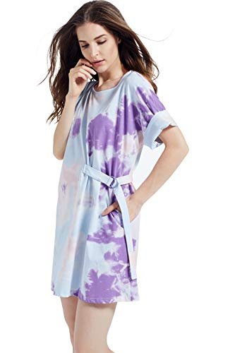 Kesujin Women's Summer Loose Fit Short Sleeve Tie Dye T-Shirt Dresses for Women Casual, Crew Neck T Shirt, Womens Tshirt Dress with Pockets (Purple,L)