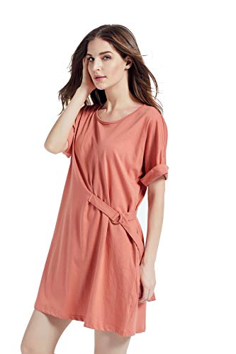 Kesujin Women's Summer Loose Fit Short Sleeve T-Shirt Dresses for Women Casual, Crew Neck Tshirt, Womens T Shirt Dress with Pockets (Pink,L)