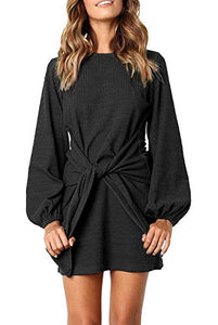 Kesujin Women's Black Casual Puff Long Sleeves Dresses Crew Neck Tie Knot Elegant Mini Dress