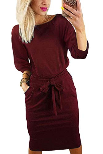 Kesujin Casual Dresses for Women Long Sleeve Wear to Work Business Office Party Sheath Belted Dress for Women(Wine Red, Tag S (US 4))