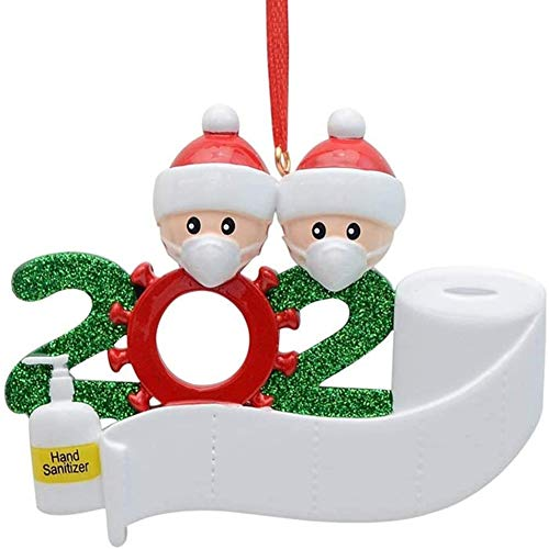 HAMACTIV Christmas Ornament Kit, 2020 Quarantine Survivor Family Novelty Christmas Decorating Set DIY Creative Gift Souvenir(Family of 2)