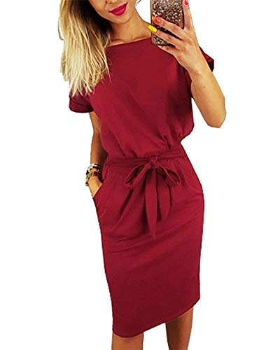 Kesujin Women's Casual Dresses for Women Short Sleeve Wear to Work Business Office Party Sheath Belted Dress for Women (Wine Red, Tag S (US 4-6))