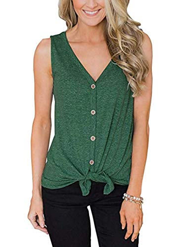 Kesujin Women's Sleeveless Tops Tie Knot Button Down Loose Fitting Casual Blouse Curved Hemline Shirts Green