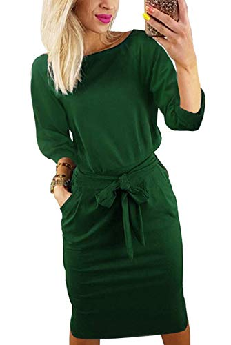 Kesujin Short Sleeve Dresses for Women Elegant Lantern Sleeve Ladies Casual Pencil Dress for Women with Belt (Green, Tag M (US 6-8))