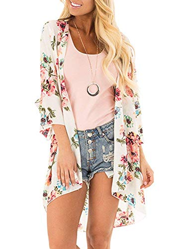 Women's Chiffon Cardigans Floral Print 3/4 Bell Sleeve Kimonos Open Front Loose Sheer Beach Cover Up White