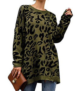 Women's Leopard Print Oversized Sweater Long Sleeve Patchwork Shirt Casual Open Front Cardigans Army Green