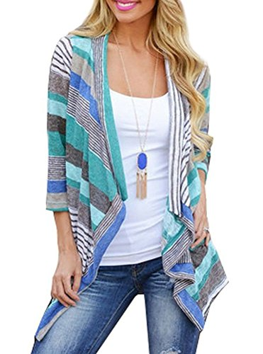 Myobe Kimonos for Women 3/4 Sleeve Red Striped Open Front Loose Cardigans for Women Lightweigh Summer Kimono Cover up (Blue, L)