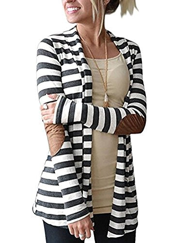 Myobe Women's Cardigans Black White Elbow Patch Shawl Collar Lighweight Striped Open Front Cardigan Sweaters Casual Blazers for Women, Dark Grey, L