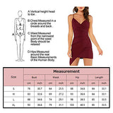 Kesujin Women's Deep V Neck Dress Sleeveless Spaghetti Straps Bodycon Cocktail Party Dresses Wine Red X-Large