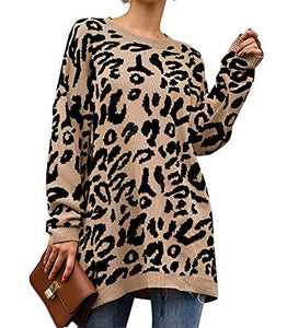 Women's Leopard Print Oversized Sweater Long Sleeve Patchwork Shirt Casual Open Front Cardigans Khaki