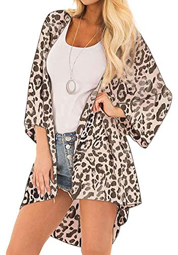 Women's Chiffon Cardigans Floral Print 3/4 Bell Sleeve Kimonos Open Front Loose Sheer Beach Cover Up