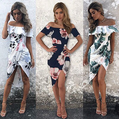 Fashion Women Boho Long Evening Society Clothes Prom Floral Summer Beach Maxi Clothing Shoes Split Clothing