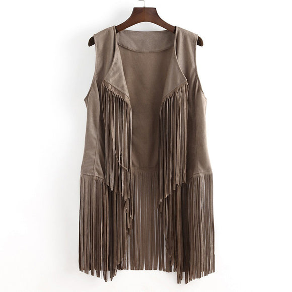 Clothing Shoes & Accessories 1 pc Women Coat Women Autumn Winter Faux Suede Ethnic Sleeveless Tassels Fringed Vest Cardigan 8.29