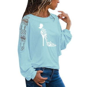 Butterfly High-heeled shoes Print Female T Shirt Funny Teeshirt Women Clothing Casual Long Sleeve Large Size Loose Lace Tops Tee