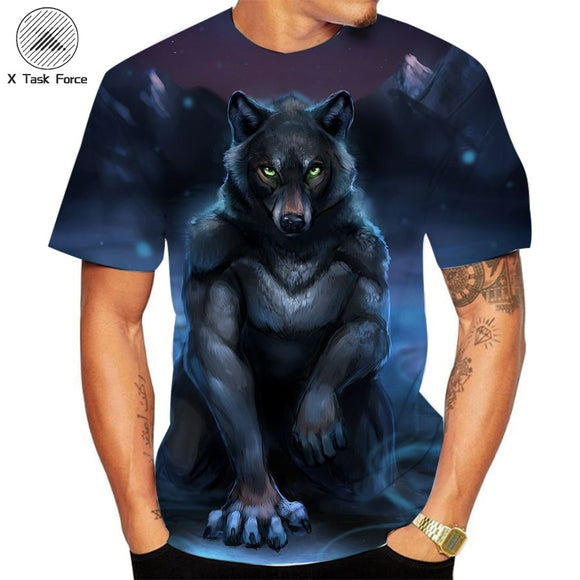 3D printed T-shirt men's street wear round neck short sleeve T-shirt top funny animal menswear casual Wolf Men's t-shirts tops
