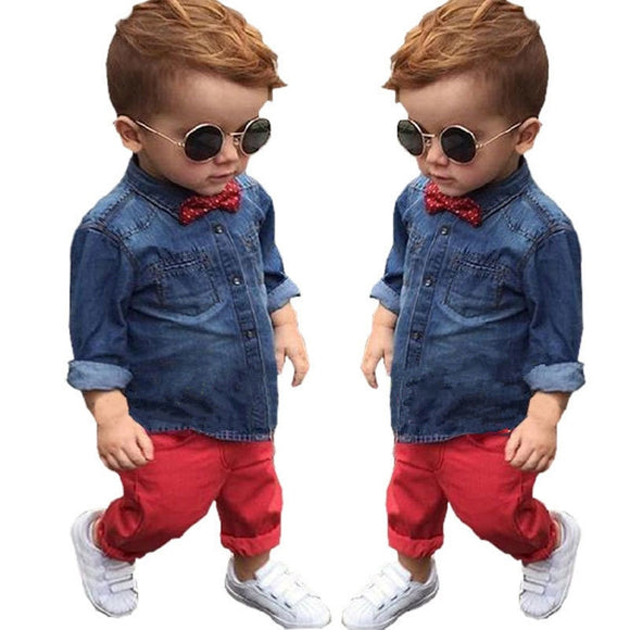 Boys Clothes Suit 2019 Spring Cotton Long Sleeve Gentleman Kids Children's Clothing Set Denim Suit