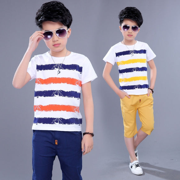 Kids Sets Boys Summer New Children Short Sleeved T Shirt +pant Two Sets of Children's Sport Suit 5-14 Ages Clothing 10 12 Year