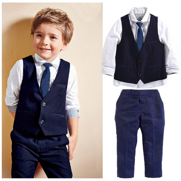 3pieces set autumn 2019 children's leisure clothing sets kids baby boy suit vest gentleman clothes for weddings formal clothing