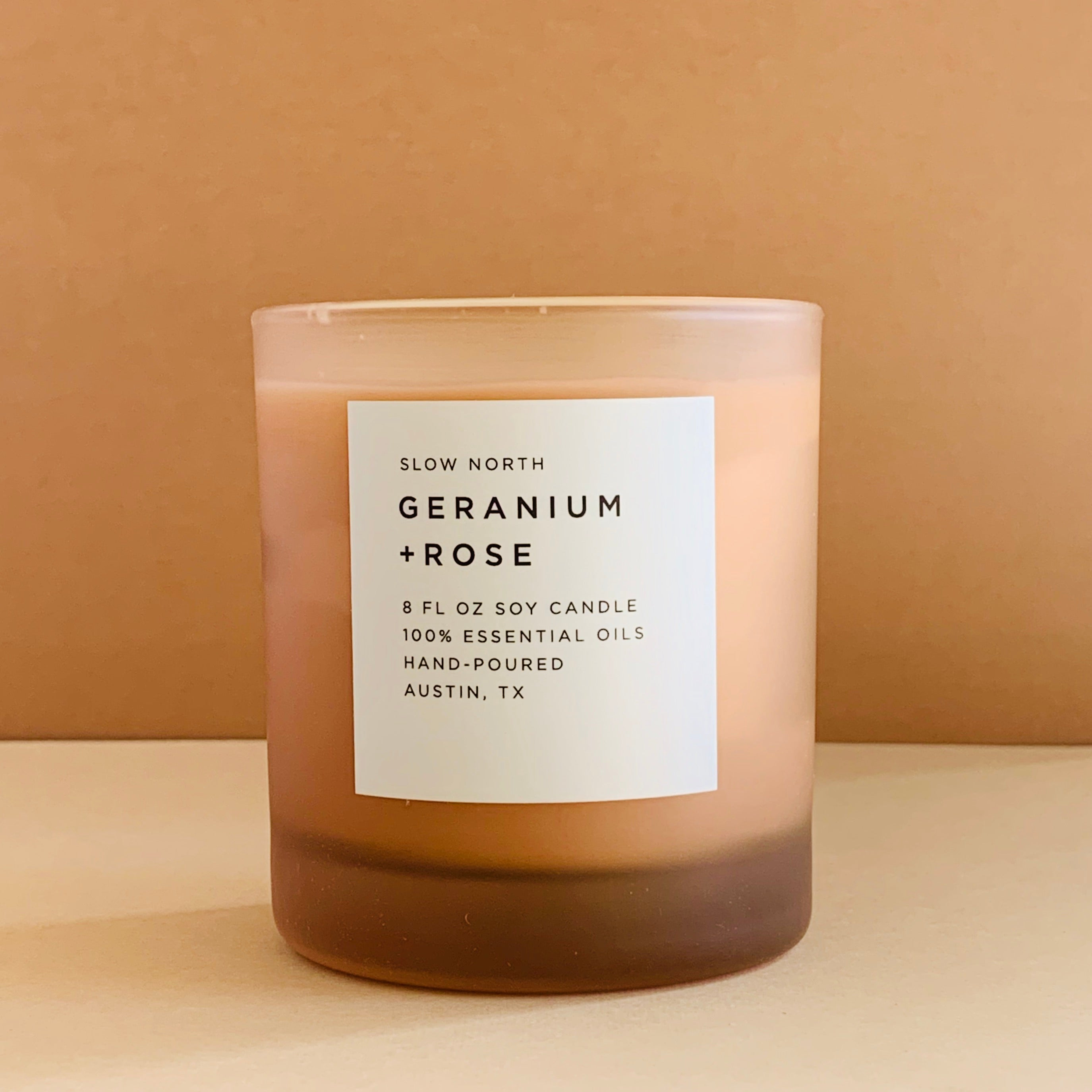 Geranium + Rose Frosted Candle