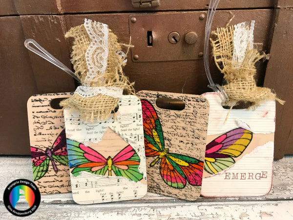 Artesprix Mixed Media Bag Tags Using Iron-on-Ink!