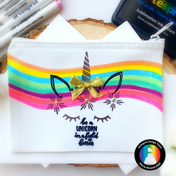 Artesprix Sublimation Poly-Canvas Zip Case – Be A Unicorn!