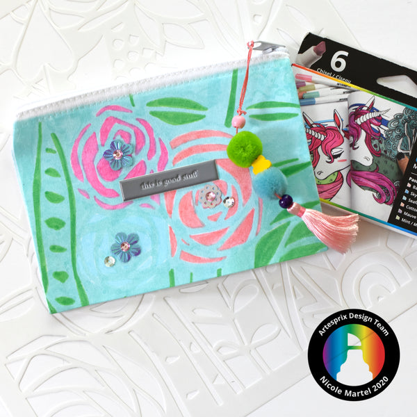 Floral Poly-Canvas Zip Case with Sublimation Markers