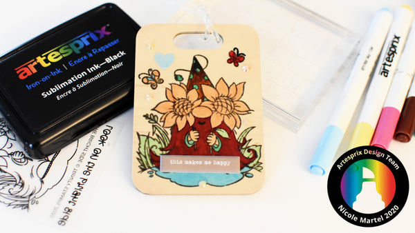 Iron-on-Ink Gnome Bag Tag with Artesprix Sublimation Markers!