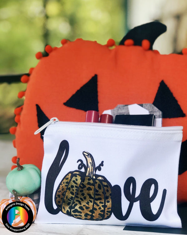 Iron-on-Ink Foiled Halloween Poly Canvas Zip Case