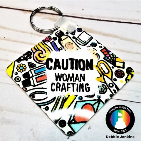 Sublimation key chain with stamps and iron-on-ink