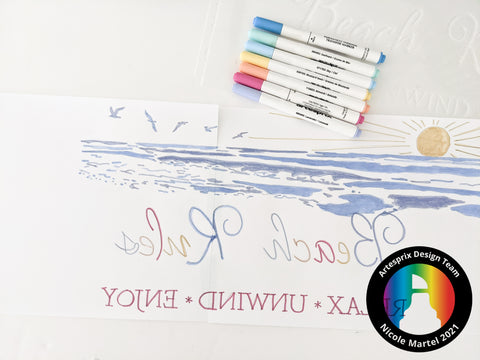 Sublimation design with heat transfer markers beach tote
