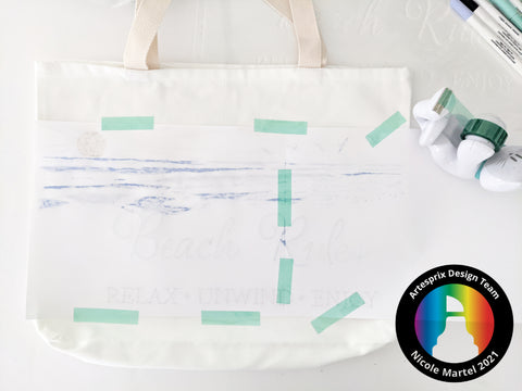 sublimation beach tote bag with Artesprix iron-on-ink markers