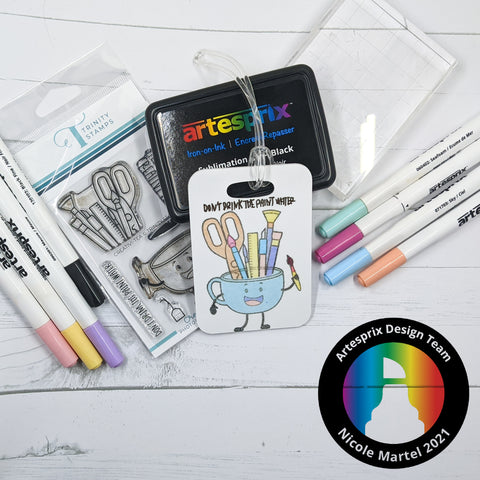 Sublimation bag tag with heat transfer markers
