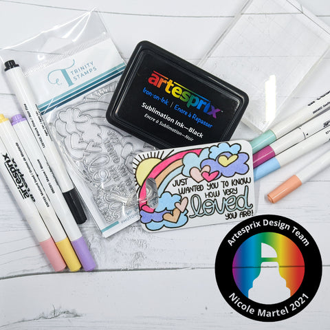 Colorful sublimation bag tag with heat transfer markers