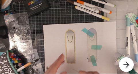 Artesprix Heat Tape to tape down bookmark to copy paper