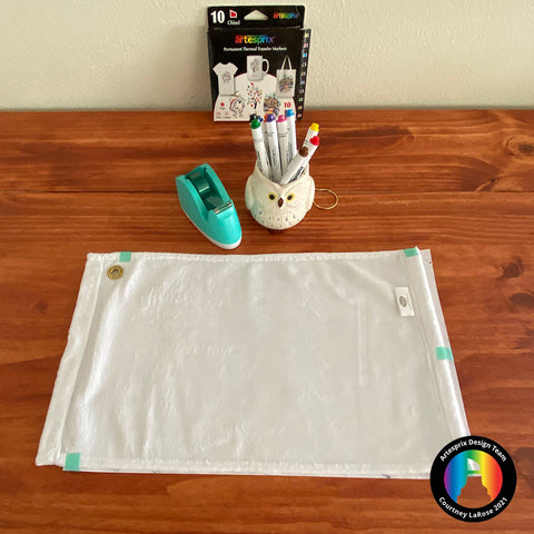 Tape Poly Sports Towel to Iron-on-Ink design