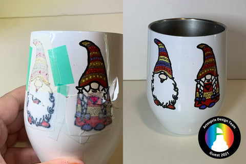 Sublimation Gnome DIY wine tumbler with Sublimation markers
