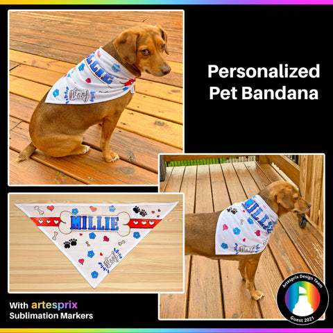 Artesprix sublimation marker, heat tape, pet bandana blank, protective paper, stamps, stamp block, and stamp ink pad. Also a pencil, paper, and chipboard letters to trace around