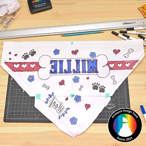 Personalized pet bandana design colored on paper with Artesprix sublimation markers