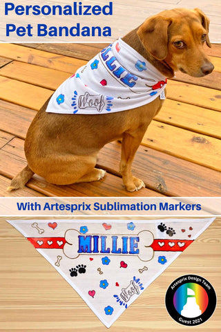 Personalized Pet Bandana made with Artesprix Sublimation Products