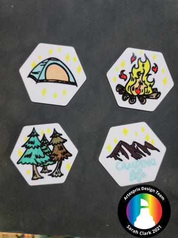 Sublimation Hexagon Magnets Camping DIY