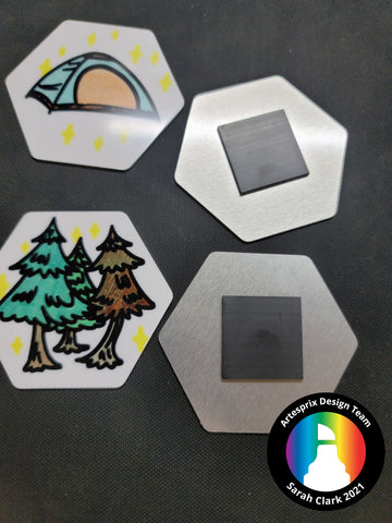Sublimation Hexagon Magnets DIY Camping