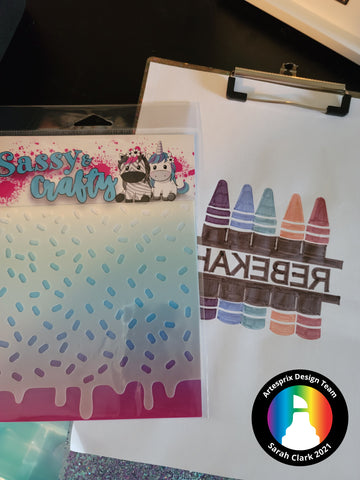 Sassy and Crafty Stencil with Sublimation Markers