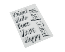 "Load image into Gallery viewer, Photopolymer Stamps - Hand Lettered Basics Mirrored Words for Sublimation (4"" x 6"")"
