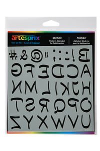 "Mirrored Sublimation Stencil - Modern Alphabet (6"" x 6"")"