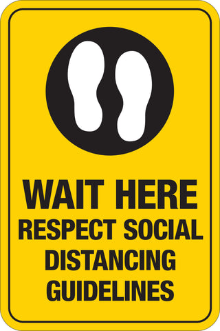 Decal - Wait Here Respect Social Distancing Guidelines